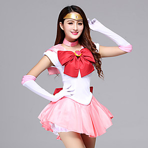 cheap Anime Costumes-Inspired by Sailor Moon Schoolgirls Anime Cosplay Costumes Japanese Cosplay Suits Dresses Dress Gloves Bow For Women's / Headwear / Neckwear / Headwear / Neckwear / Satin