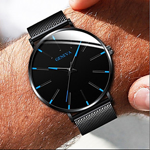 cheap LED String Lights-Geneva Couple's Dress Watch Quartz Formal Style Mesh Stainless Steel Black / Silver / Rose Gold Casual Watch Analog Fashion - Black / White Black / Blue Rose Gold One Year Battery Life