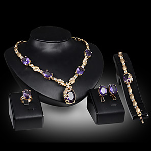 cheap Jewelry Sets-Women's Stud Earrings Pendant Necklace Bracelet Cut Out Luxury Unique Design Fashion Rhinestone Gold Plated Earrings Jewelry Purple / Green / Red For Wedding Party Holiday 1 set / Bridal Jewelry Sets
