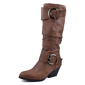 cheap Women's Boots-Women's Boots Chunky Heel Round Toe Buckle PU Mid-Calf Boots Vintage Fall & Winter Black / Brown / Yellow