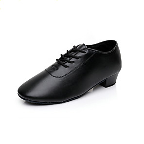 cheap Latin Shoes-Boys' Modern Shoes / Ballroom Shoes Faux Leather Heel Thick Heel Customizable Dance Shoes Black / Performance
