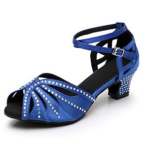 cheap Latin Shoes-Women's Dance Shoes Satin Latin Shoes Crystal / Rhinestone Heel Cuban Heel Customizable Black / Almond / Blue / Performance / Leather / Practice