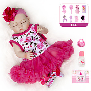 cheap Reborn Doll-20 inch Reborn Doll Baby Girl Kids / Teen Full Body Silicone with Clothes and Accessories for Girls' Birthday and Festival Gifts