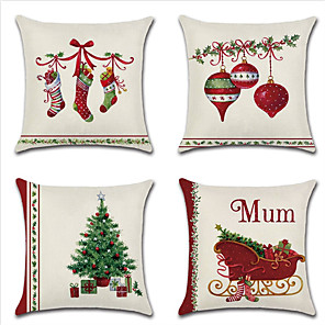 cheap Sale-Christmas pillow cover cushion cover Christmas stocking bell Christmas tree household