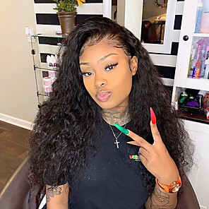 cheap Human Hair Wigs-Remy Human Hair Glueless Full Lace Full Lace Wig style Brazilian Hair Loose Wave Wig 130% 150% 180% Density with Baby Hair Natural Hairline African American Wig 100% Hand Tied Women's Short Medium