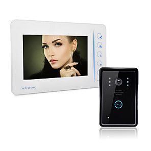 cheap Security Sensors-Wired Video Doorphone 7 inch Hands-free 800*480 Pixel One to One Doorbell Intercom 1/4 Inch Color CMOS Sensor 800x480 Outdoor Unit Wall Mounted Hands-free