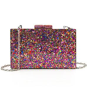 cheap Clutches & Evening Bags-Women's Sequin / Chain Acrylic / Polyester Evening Bag Color Block Fuchsia