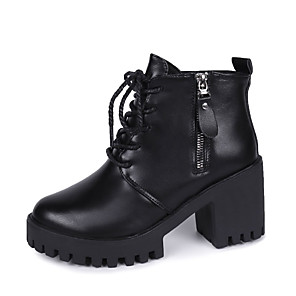 cheap Women's Boots-Women's Boots Chunky Heel Round Toe PU Booties / Ankle Boots Fall & Winter Black
