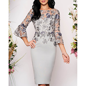 cheap Wedding Wraps-Mermaid / Trumpet  Floral Elegant Cocktail Wedding Guest Dress Illusion Neck Long Sleeve Knee Length Tulle with Appliques 2020