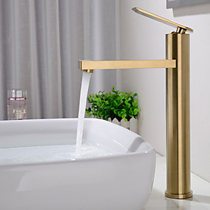 cheap Bathroom Sink Faucets-Bathroom Sink Faucet - Widespread Brushed Gold Centerset Single Handle One Brass HoleBath Taps