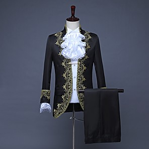 cheap Historical & Vintage Costumes-Prince Embossed Retro Vintage Rococo Medieval 18th Century Coat Pants Outfits Masquerade Men's Costume White / Black / Red Vintage Cosplay Party Prom Long Sleeve / Collar / Collar