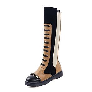 cheap Women's Boots-Women's Boots Knee High Boots Platform Round Toe PU Knee High Boots Casual / British Winter Black / White / Black / Yellow