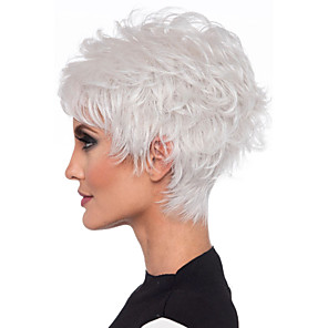 cheap Synthetic Trendy Wigs-Synthetic Wig Straight Layered Haircut Wig Short Creamy-white Brown Synthetic Hair 8inch Women's Odor Free Normal Fashionable Design White Brown / Heat Resistant / Heat Resistant