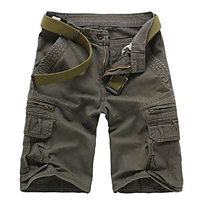 "cheap Hiking Trousers & Shorts-Men's Hiking Shorts Hiking Cargo Shorts Solid Color Summer Outdoor 11"" Relaxed Fit Lightweight Breathable Comfortable Anti-tear Cotton Shorts Pants / Trousers Bottoms Forest Green Black Army Green"
