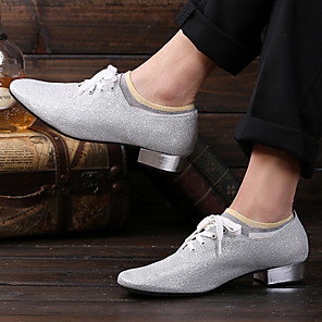 cheap Latin Shoes-Men's Dance Shoes Faux Leather Latin Shoes Flat Flat Heel Silver
