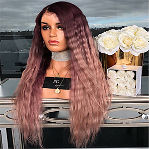 cheap Costume Wigs-Synthetic Wig kinky Straight Middle Part Wig Long Dark Red Synthetic Hair 26 inch Women's Women Dark Brown