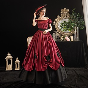 cheap Anime Costumes-Maria Antonietta Rococo Victorian Summer Dress Party Costume Masquerade Women's Off Shoulder Costume Burgundy Vintage Cosplay Party Masquerade Short Sleeve Floor Length Ball Gown