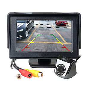 cheap Car Headlights-ZIQIAO 4.3 Inch TFT LCD Screen Car Monitor With Sunshade Auxiliary Parking LED Light Night Vision Rear View Camera Kit