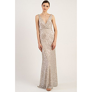 cheap Bridesmaid Dresses-Sheath / Column Plunging Neck Sweep / Brush Train Sequined Bridesmaid Dress with Sequin / Sparkle & Shine
