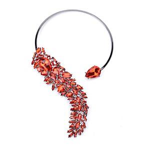 cheap Jewelry Sets-Women's Cubic Zirconia Necklace Geometrical Flower Fashion Chrome Red Blue Rainbow 49 cm Necklace Jewelry 1pc For Wedding Prom