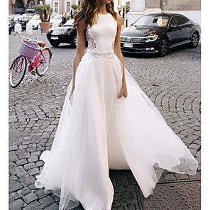 cheap Wedding Party Dresses-A-Line Wedding Dresses Jewel Neck Sweep / Brush Train Lace Tulle Regular Straps Casual Beach Backless with Buttons Lace Insert 2020