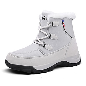 cheap Women's Boots-Women's Boots Snow Boots Flat Heel Round Toe Leather / Canvas Mid-Calf Boots Winter Black / Gray