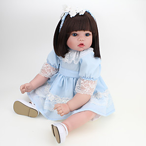 cheap Reborn Doll-NPK DOLL 22 inch Reborn Doll Reborn Toddler Doll Baby Girl Safety Gift Cute Cloth 3/4 Silicone Limbs and Cotton Filled Body with Clothes and Accessories for Girls' Birthday and Festival Gifts / Kids