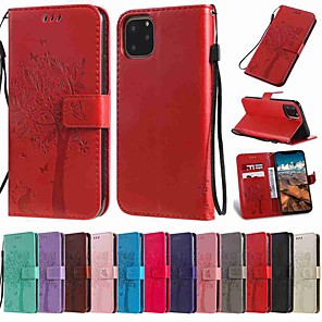cheap iPhone Cases-Case For Apple iPhone 11 / iPhone 11 Pro / iPhone 11 Pro Max Wallet / Card Holder / with Stand Full Body Cases Tree PU Leather / TPU