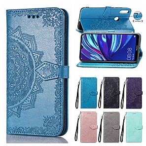 cheap Huawei Case-Mandala Embossed Wallet Leather Flip Phone Case For Huawei Y9 2019 Y7 Pro 2019 Y6 Pro 2019 Y9 2018 Y7 2018 Y6 2018 Y5 2018 P Smart Plus 2019 Honor 20 Pro Honor 20i Card Holder Stand Case Cover