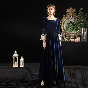 cheap Historical & Vintage Costumes-Maria Antonietta Rococo Baroque Victorian Dress Party Costume Masquerade Women's Lace Costume Ink Blue Vintage Cosplay Party Halloween Party & Evening Floor Length Ball Gown Plus Size