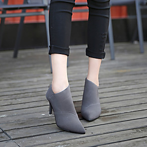 cheap Women's Boots-Women's Boots Stiletto Heel Pointed Toe Elastic Fabric Booties / Ankle Boots Vintage / Minimalism Spring &  Fall / Fall & Winter Black / Gray