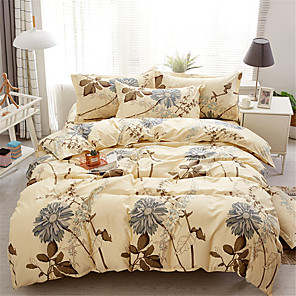 cheap Solid Duvet Covers-Duvet Cover Sets Floral / Contemporary Polyster Printed 4 PieceBedding Sets