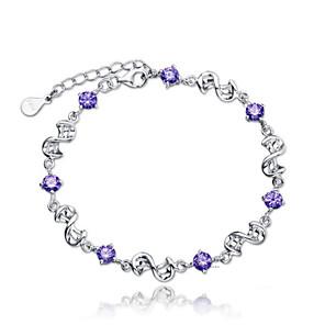 cheap Bracelets-Women's Bracelet Classic Mini Fashion Silver-Plated Bracelet Jewelry White / Purple For Daily