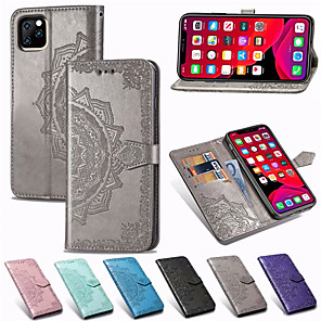 cheap Samsung Case-Mandala Embossed Wallet Leather Flip Phone Case For iphone 11 Pro Max XR XS Max X 8 Plus 8 7 Plus 7 6 Plus 6 Card Holder Stand Case Cover