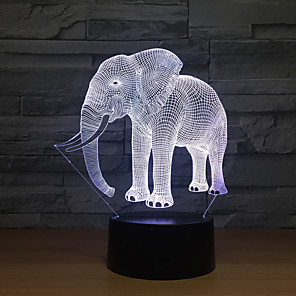 cheap 3D Night Lights-3D Nightlight For Children Creative Birthday Animal Design Cartoon Realism USB 1pc