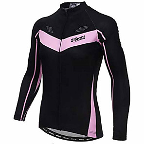 cheap Cycling Jerseys-21Grams Women's Long Sleeve Cycling Jersey Winter Black Bike Jersey Top Mountain Bike MTB Road Bike Cycling Thermal / Warm UV Resistant Breathable Sports Clothing Apparel / Stretchy / Quick Dry
