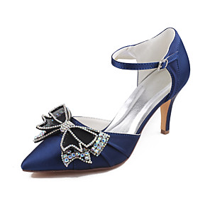 cheap Wedding Shoes-Women's Wedding Shoes Glitter Crystal Sequined Jeweled Stiletto Heel Pointed Toe Rhinestone / Bowknot Satin Spring &  Fall / Summer Dark Purple / Dark Blue / Party & Evening