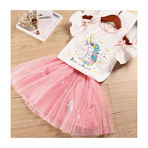 cheap Movie & TV Theme Costumes-Kids Girls' Basic Unicorn Cartoon Short Sleeve Clothing Set White