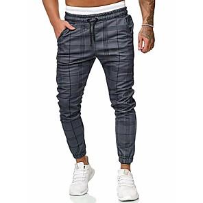 cheap Running & Jogging Clothing-Men's Basic / Street chic Chinos / wfh Sweatpants Pants - Solid Colored / Striped Gray US32 / UK32 / EU40 US34 / UK34 / EU42 US36 / UK36 / EU44