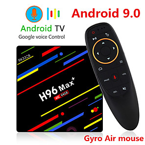 cheap TV Boxes-H96 MAX Plus Voice Control Smart TV BOX Android 9.0 RK3328 4K Media Player QuadCore 4GB Ram 64GB ROM Android 8.1 Rockchip Set Top Box 2.4G/5G WIFI H.265 H96Max + TVBOX USB3.0 BT
