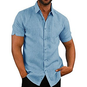 cheap Video Door Phone Systems-Men's Shirt Solid Colored Tops White Black Blue / Short Sleeve