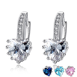 cheap Religious Jewelry-Women's AAA Cubic Zirconia Earrings Classic Heart Stylish Artistic Luxury Trendy Korean Platinum Plated Gold Plated Earrings Jewelry Silver / Blue / Pink For Christmas Gift Daily Work Festival 1 Pair
