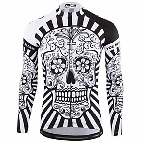 cheap Cycling Jerseys-21Grams Sugar Skull Men's Long Sleeve Cycling Jersey - Black / White Bike Jersey Top Thermal / Warm UV Resistant Breathable Sports Winter Fleece 100% Polyester Mountain Bike MTB Road Bike Cycling