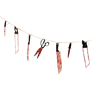 cheap Halloween Party Supplies-12pcs Blood Knife Rope Tools Horok Tool Sets Spooky Pendant Knife Garland Banner Chamber of Secrets Haunted House Bar Decoration
