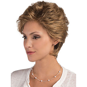 cheap Human Hair Capless Wigs-Human Hair Blend Wig Short Curly Bob Pixie Cut Layered Haircut Asymmetrical Black Brown Cool Comfortable Natural Hairline Capless Women's All Silver Medium Auburn#30 Black / Dark Wine 8 inch
