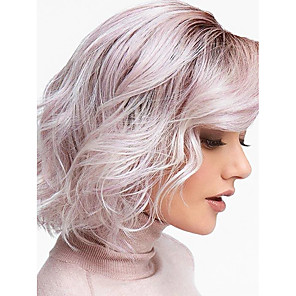cheap Synthetic Trendy Wigs-Synthetic Wig Water Wave Bob Wig Ombre Short Black / Pink Synthetic Hair 12inch Women's Odor Free Adjustable Heat Resistant Ombre / Ombre Hair