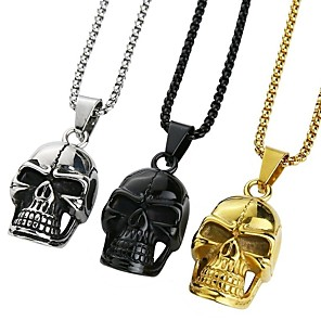 cheap Pendant Necklaces-Men's Pendant Necklace Necklace Classic Skull Vintage Ethnic Fashion Boho Chrome Black Gold Silver 65 cm Necklace Jewelry 1pc For Daily