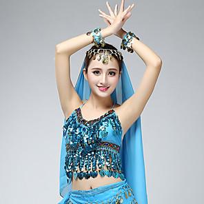 cheap Latin Dancewear-Belly Dance Top Tassel Crystals / Rhinestones Paillette Women's Training Performance Sleeveless Chiffon Sequined Milk Fiber
