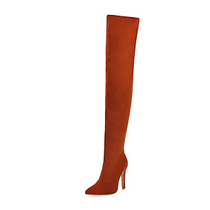 cheap Women's Sandals-Women's Boots Over-The-Knee Boots Stiletto Heel Pointed Toe Synthetics Over The Knee Boots Fall & Winter Black / Yellow / Red / Party & Evening