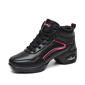 cheap Dance Sneakers-Women's Dance Shoes Leather Dance Sneakers Sneaker Thick Heel Customizable Black / White